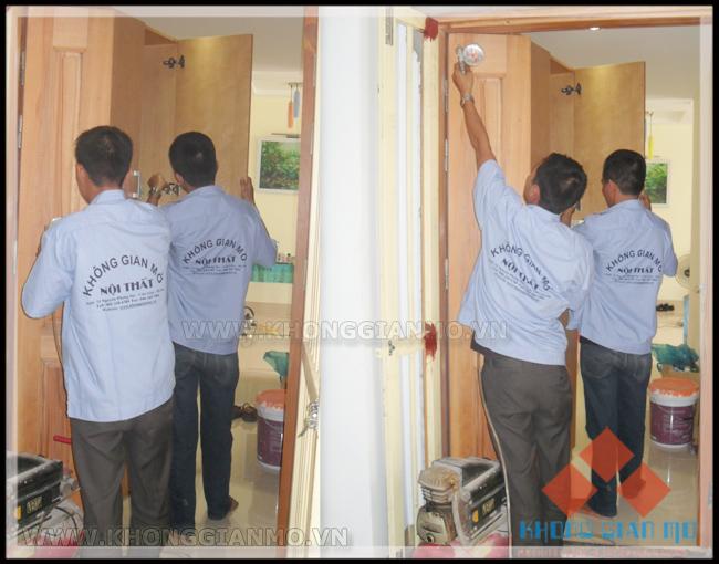 Đội thi công lắp đặt nội thất tại công trình - Đội thi công được đào tạo bài bản và có kỷ luật của công ty