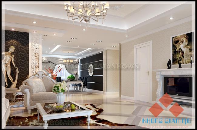 Chung cư Vinaconex 1 Khuất Duy Tiến -Nội thất Phòng khách-v2-theo style classic